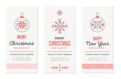 New Year and Christmas greeting card templates with holiday signs vector illustration