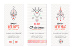 New Year and Christmas greeting card templates with holiday signs royalty free illustration