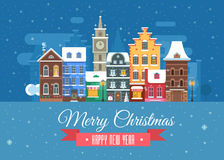 New Year and Christmas Greeting Card. Vector Christmas wishing card with traditional celebrating text. Merry Christmas and Happy New Year greetings card with Stock Photography