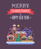 New Year and Christmas Greeting Card Royalty Free Stock Photography