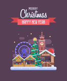 New Year and Christmas Greeting Card. Vector Christmas wishing card with traditional celebrating text. Merry Christmas and Happy New Year greetings card with royalty free illustration