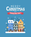 New Year and Christmas Greeting Card. Vector Christmas wishing card with traditional celebrating text. Merry Christmas and Happy New Year greetings card with Stock Photo