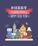 New Year and Christmas Greeting Card. Vector Christmas wishing card with traditional celebrating text. Merry Christmas and Happy New Year greetings card with Stock Images