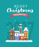 New Year and Christmas Greeting Card. Vector Christmas wishing card with traditional celebrating text. Merry Christmas and Happy New Year greetings card with Royalty Free Stock Image