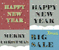 New Year and Christmas greeting cards Royalty Free Stock Images