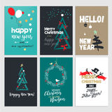 New Year and Christmas greeting cards collection Royalty Free Stock Images