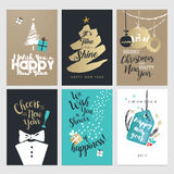 New Year and Christmas greeting cards. Set of flat design vector illustrations Stock Image