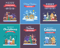 New Year and Christmas Greeting Cards. Winter holidays congratulation templates in flat design. Christmas and New Year wishing cards with traditional Stock Images
