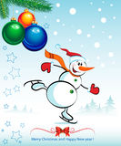 New Year and Christmas. Happy snowman Stock Image