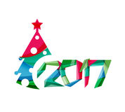 New Year and Christmas holiday elements. 2017 New Year and Christmas holiday elements. Vector abstract geometric design with white space for text Stock Photo