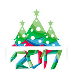 New Year and Christmas holiday elements. 2017 New Year and Christmas holiday elements. Vector abstract geometric design with white space for text Royalty Free Stock Image