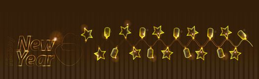 New Year and Christmas holiday. a garland. Of a lamp to glow. asterisk star shape. illustration for your design Stock Photography