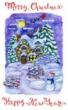 Cute house in snow, conifers, snowman and Santa sledges in night sky. New Year and Christmas holiday greeting card, watercolor and graphic hand drawn Royalty Free Stock Photography
