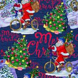 Seamless background with Santa Claus on bike, winter landscape and conifer on blue Royalty Free Stock Photography