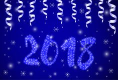 New Year and Christmas holidays. Blue numerals 2018 on the bright background with snowflakes and ribbons. New Year and Christmas holidays Stock Images