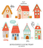 New Year and Christmas holidays elements. Stylized winter character houses. Christmas typography and wishes. Vector illustration. Isolated. White background Stock Photo