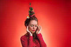 New Year and Christmas holidays funny image with model Stock Image
