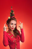 New Year and Christmas holidays funny image with model Royalty Free Stock Images