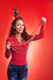New Year and Christmas holidays funny image with model Stock Photos
