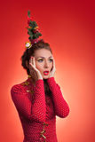 New Year and Christmas holidays funny image with model Royalty Free Stock Photos