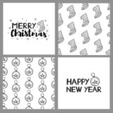 New year and Christmas holidays seamless patterns and cards. Vector illustration royalty free illustration