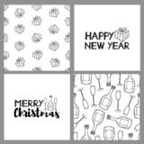 New year and Christmas holidays seamless patterns and cards. Vector illustration vector illustration