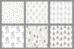 New year and Christmas holidays seamless patterns. Vector illustration stock illustration