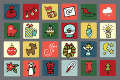 New year,Christmas icons button set Stock Image