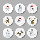 New Year Christmas icons with a deer, Santa Claus. Vector. stock illustration