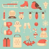 New Year and Christmas icons set Royalty Free Stock Photography