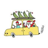 New Year and Christmas illustration with Santa on the car with Christmas tree. Vector illustration.  royalty free illustration