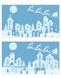 New Year Christmas. An image of Santa Claus and deer. Snow, moon, trees, houses, church. Two landscapes are cut from. Blue paper. Vector illustration Stock Image