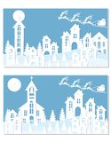 New Year Christmas. An image of Santa Claus and deer. Snow, moon, trees, houses, church. Two landscapes are cut from. White paper. Vector illustration Royalty Free Stock Image