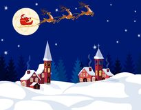 New Year Christmas. An image of Santa Claus and deer. Winter city on the eve of the New Year. Snow, moon, stars. Vector illustration Royalty Free Stock Images