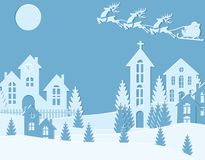 New Year Christmas. An image of Santa Claus and deer. Winter city. on New Year s Eve. Snow, moon, trees, houses, temple. Cut from paper. Vector illustration Royalty Free Stock Images