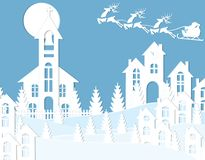 New Year Christmas. An image of Santa Claus and a deers. Snow, moon, trees, houses, church. Landscape cut out of white. Paper. Vector illustration Stock Image