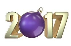 New Year and Christmas inscription 2017 with the Christmas-tree toy purple ball. 3D render isolated on white background Royalty Free Stock Photos