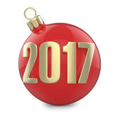 New Year and Christmas inscription 2017 with the Christmas-tree toy red ball. 3D render  on white background Royalty Free Stock Photography