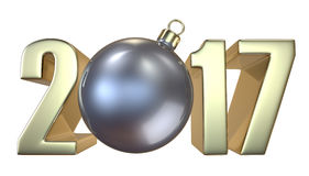 New Year and Christmas inscription 2017 with the Christmas-tree toy silver ball. New Year and Christmas inscription 2017 with the Christmas-tree Christmas toy Royalty Free Stock Photo