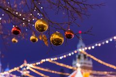 New Year and Christmas installation on Red square in Moscow Russ royalty free stock photography