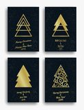 New Year and Christmas invitation card design with Christmas tree and decorations. Vector illustration set.  royalty free illustration