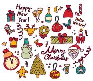 New year Christmas isolate objects set. Stock Photo