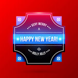 New Year and Christmas label on bright red background Royalty Free Stock Photo