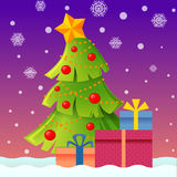 New year and Christmas landscape with christmas tree and gifts. Vector illustration Stock Photos