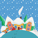 New Year and Christmas landscape in the day  in Royalty Free Stock Photo
