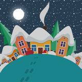 New Year and Christmas landscape at night in style Royalty Free Stock Photo