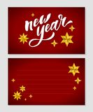 New Year Christmas lettering Calligraphy Brush Text Holiday Sticker gold illustration. Banner vector illustration