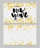 New Year Christmas lettering Calligraphy Brush Text Holiday Sticker gold illustration. Banner stock illustration