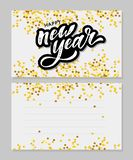 New Year Christmas lettering Calligraphy Brush Text Holiday Sticker gold illustration. Banner royalty free illustration