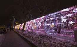 New Year and Christmas lighting decoration of the city -- The light tunnel on Tverskoy Boulevard, Russia Stock Photography
